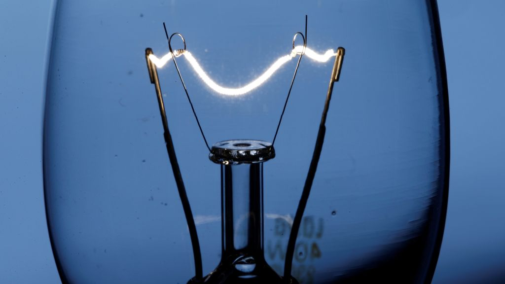 The filament of an incandescent light bulb