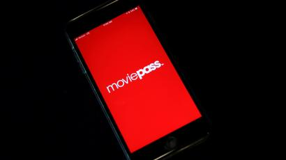 The MoviePass app shown on a phone