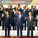 Japan's Prime Minister Shinzo Abe and Finance Minister Taro Aso pose for a photo with African Union chairperson and Egyptian President Abdel Fattah al-Sisi, United Nations Secretary General Antonio Guterres, other leaders of African nations and representatives of international organisations during the seventh Tokyo International Conference on African Development (TICAD) in Yokohama, south of Tokyo, Japan August 28, 2019, in this photo taken by Kyodo.