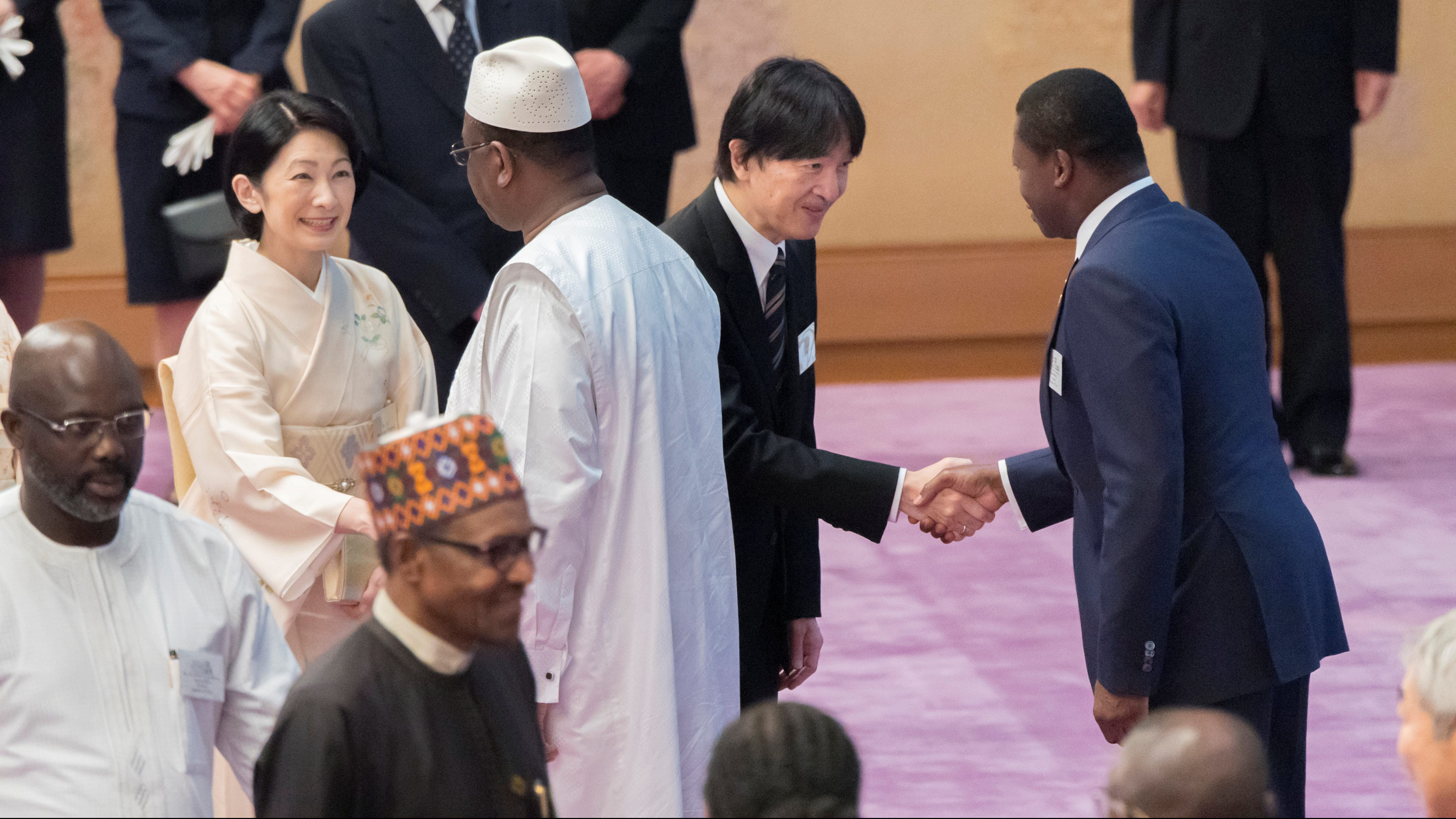 Japan's Crown Prince Akishino and Crown Princess Kiko greet leaders of the African nations attending the seventh Tokyo International Conference on African Development (TICAD) during a tea party at the Imperial Palace in Tokyo, August 30, 2019, in this photo released by Imperial Household Agency of Japan.