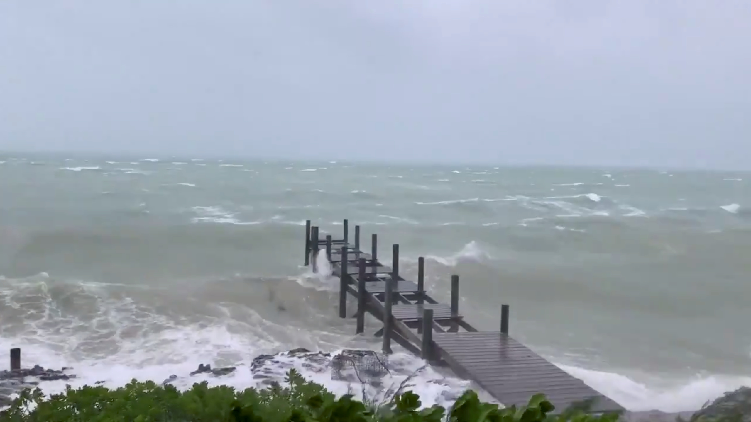 Sea conditions are seen in Marsh Harbour on Bahamas on September 1.