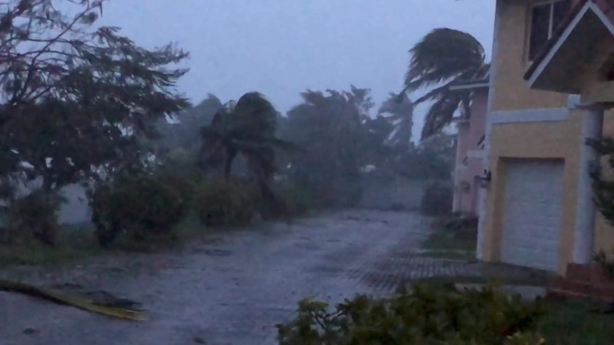 Strong winds batter Oceanhill Boulevard in Freeport, Grand Bahama Island on Sept. 2.