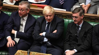 Britain's Prime Minister Boris Johnson, Chancellor of the Duchy of Lancaster Michael Gove (L), and leader of the House of Commons Jacob Rees-Mogg (R) attend in the House of Commons in London, Britain September 3, 2019.