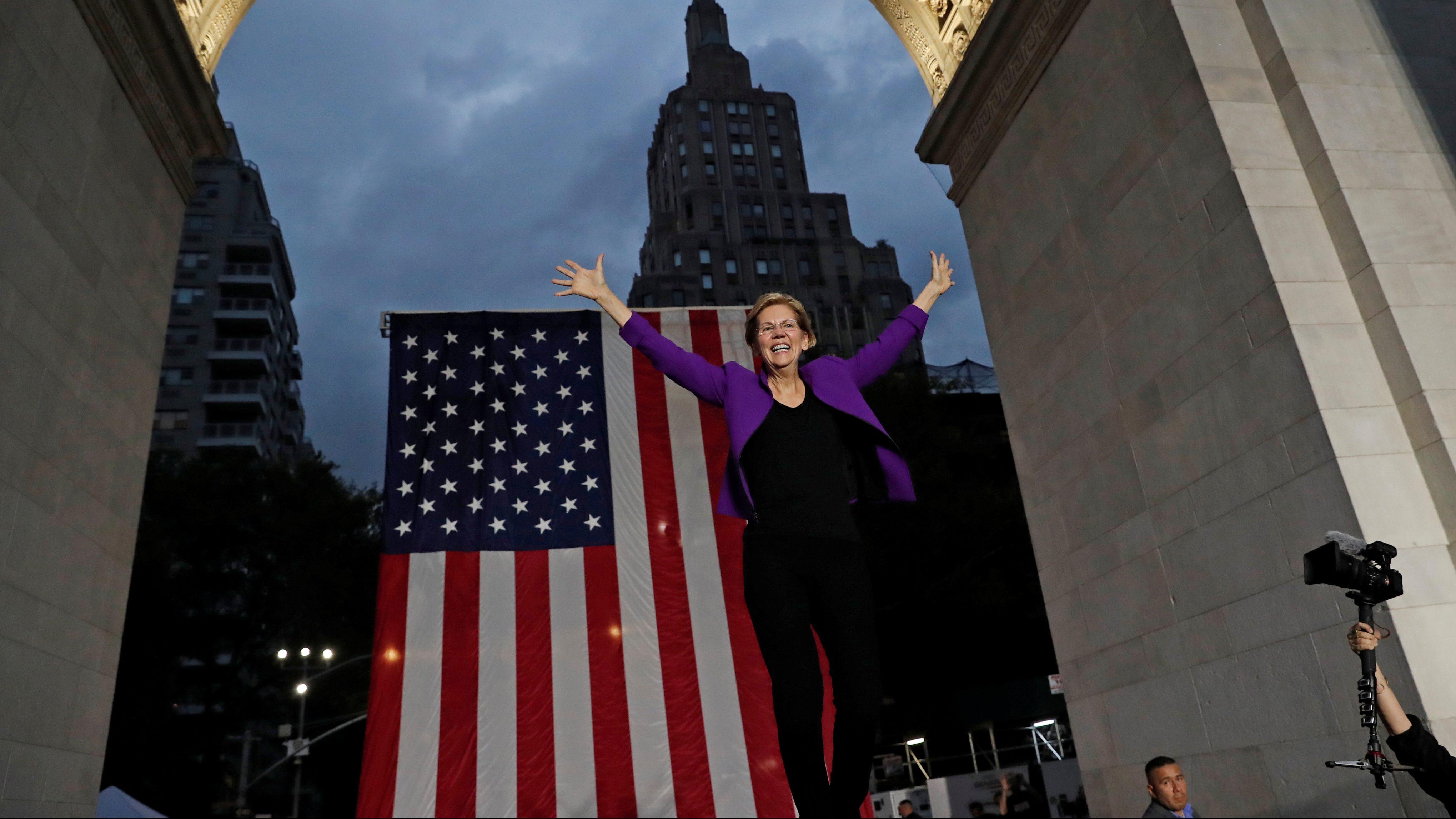 U.S. Senator and democratic presidential candidate Elizabeth Warren arrives to speak at Washington Square Park in New York