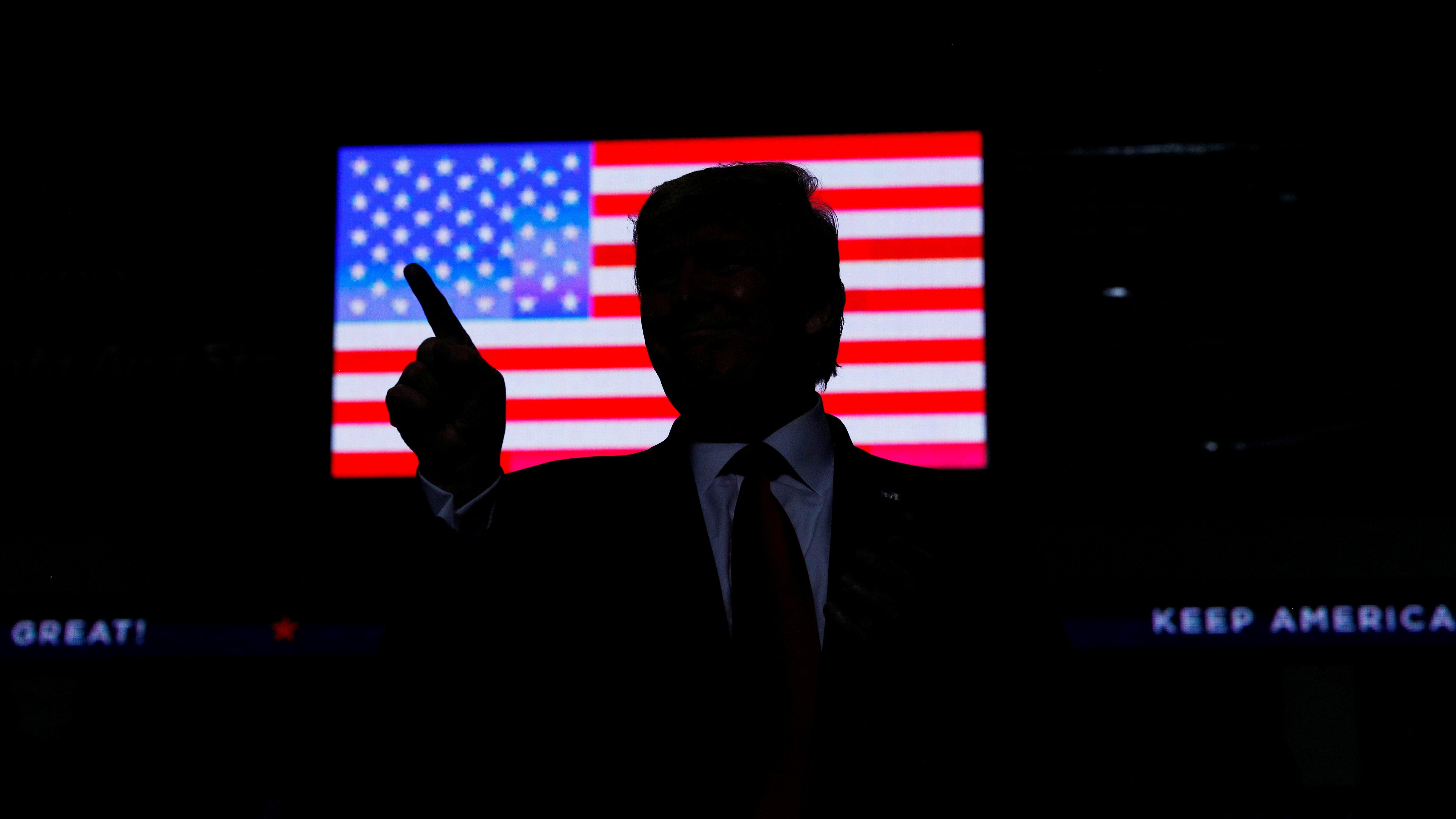 US President Donald Trump hosts a Keep America Great rally at the Santa Ana Star Center in Rio Rancho, New Mexico