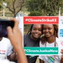 Environmental activists have their picture taken before the Climate strike protest calling for action on climate change, in Nairobi, Kenya, September 20, 2019.
