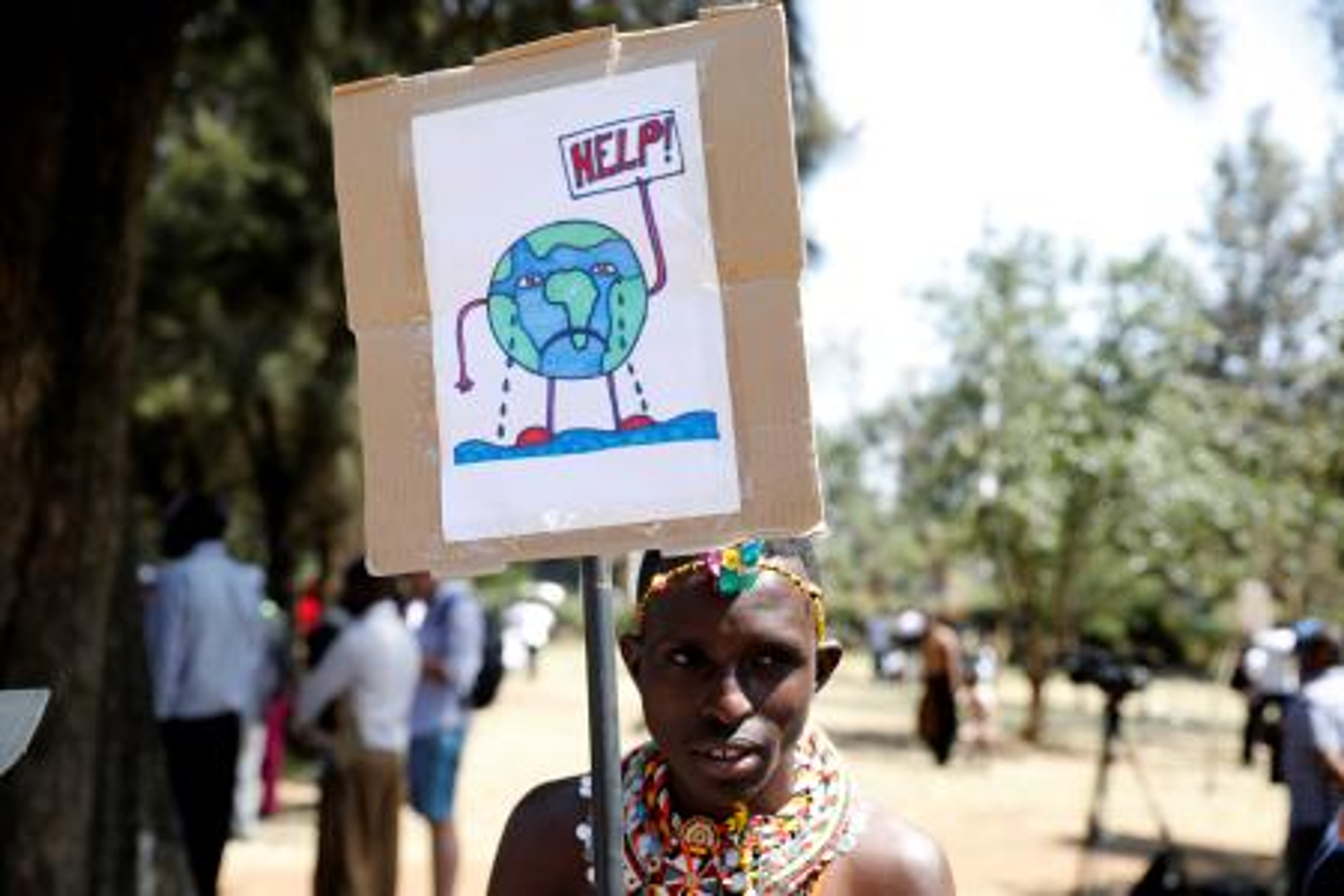 An environmental activist dressed in traditional wear in Nairobi, Kenya.