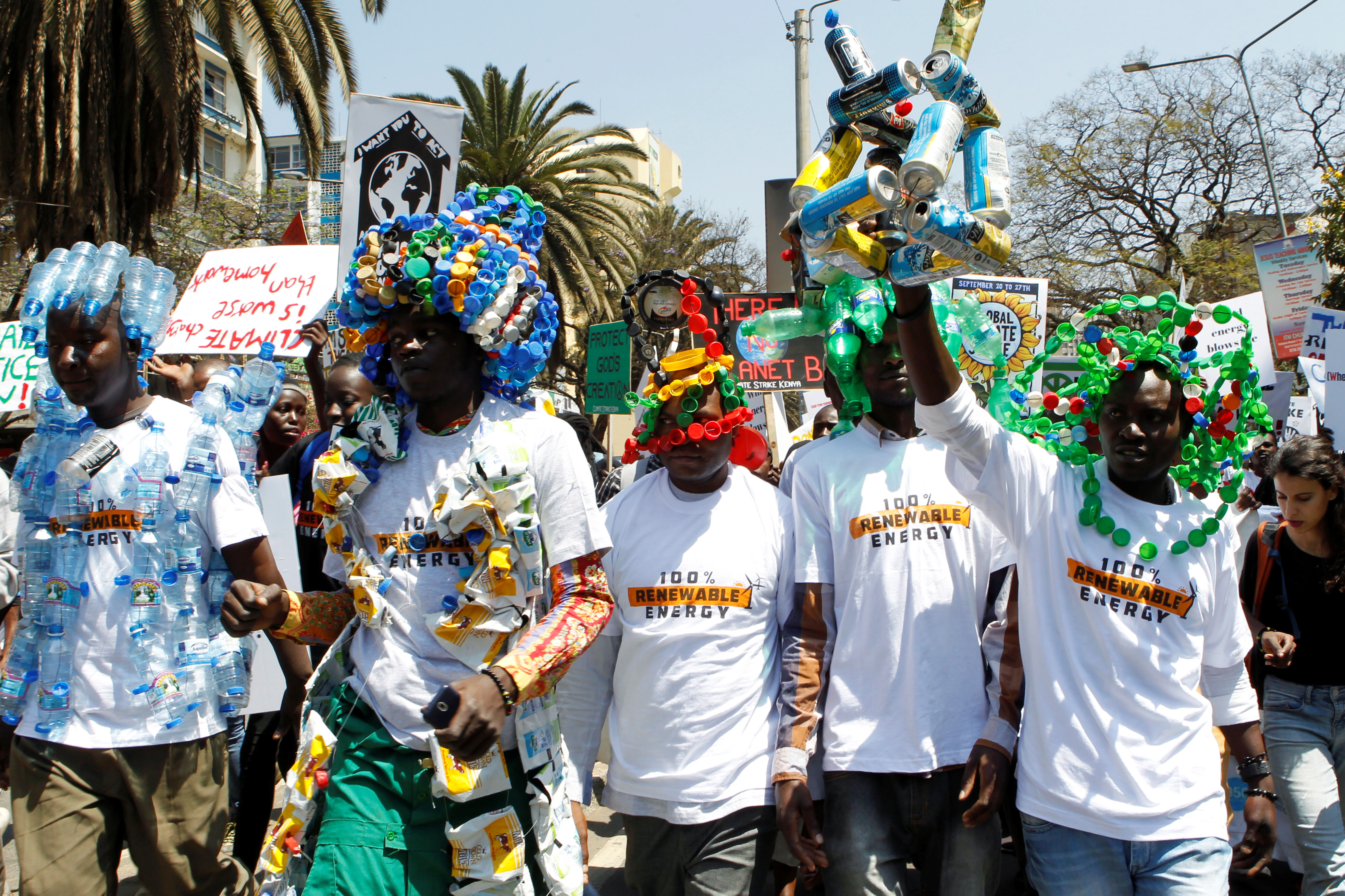 Environmental activists march as they take part in the Climate strike protest calling for action on climate change, in Nairobi, Kenya, September 20, 2019