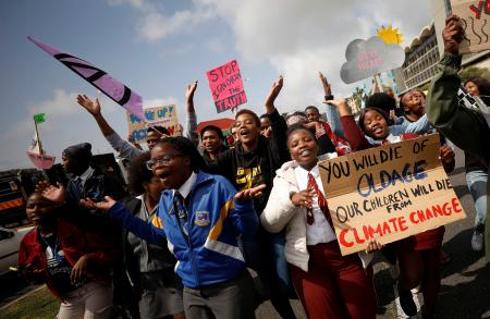 Young activists march as part of the Global Climate Strike of the movement Fridays for Future, in Cape Town, South Africa September 20, 2019.