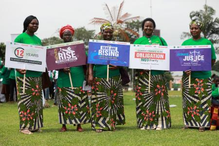 Environmental groups call for global climate strike action during a rally in Abuja, Nigeria September 20, 2019.