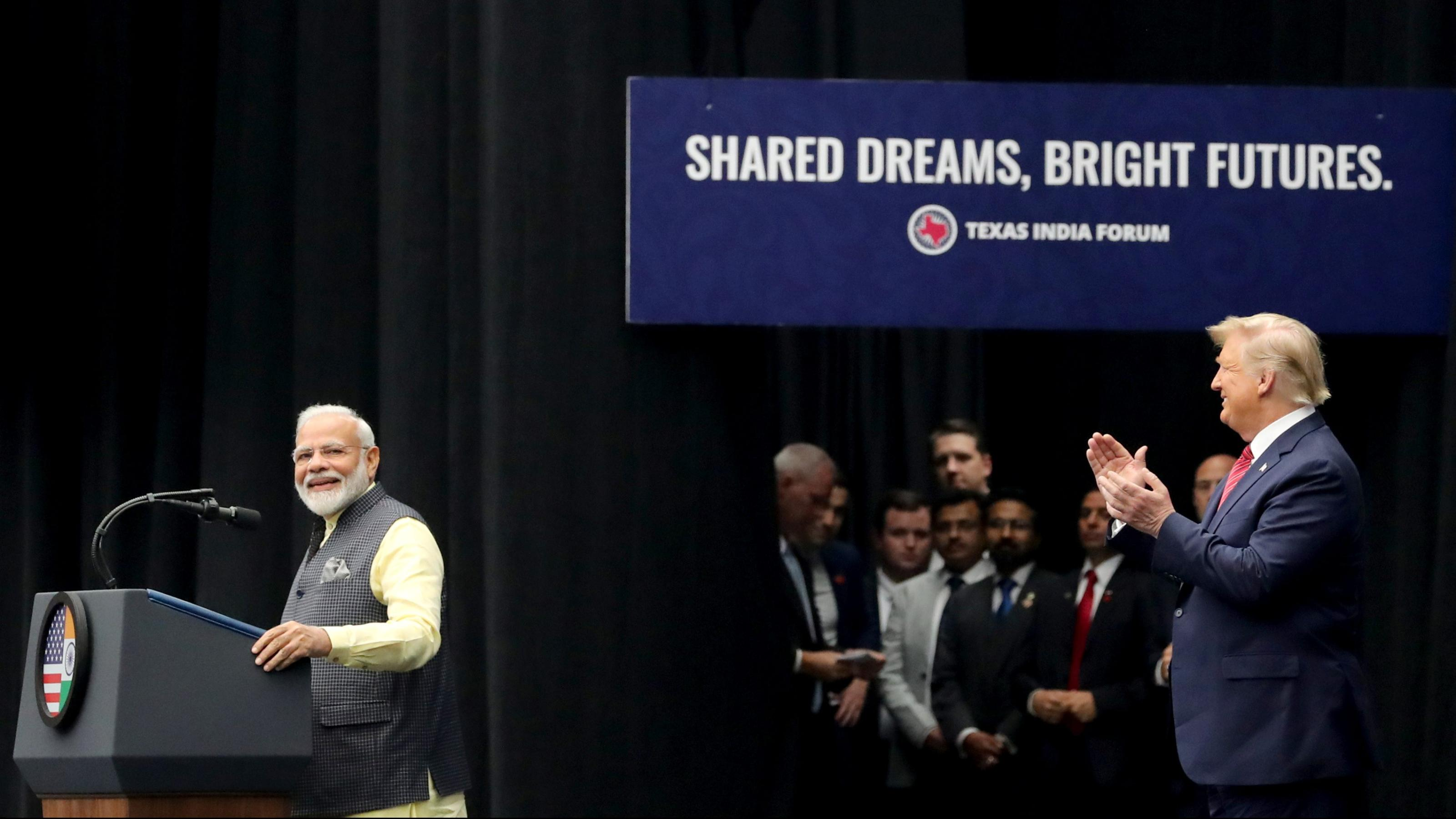 Photos of Indian PM, Trump, NRIs at Houston's Howdy Modi