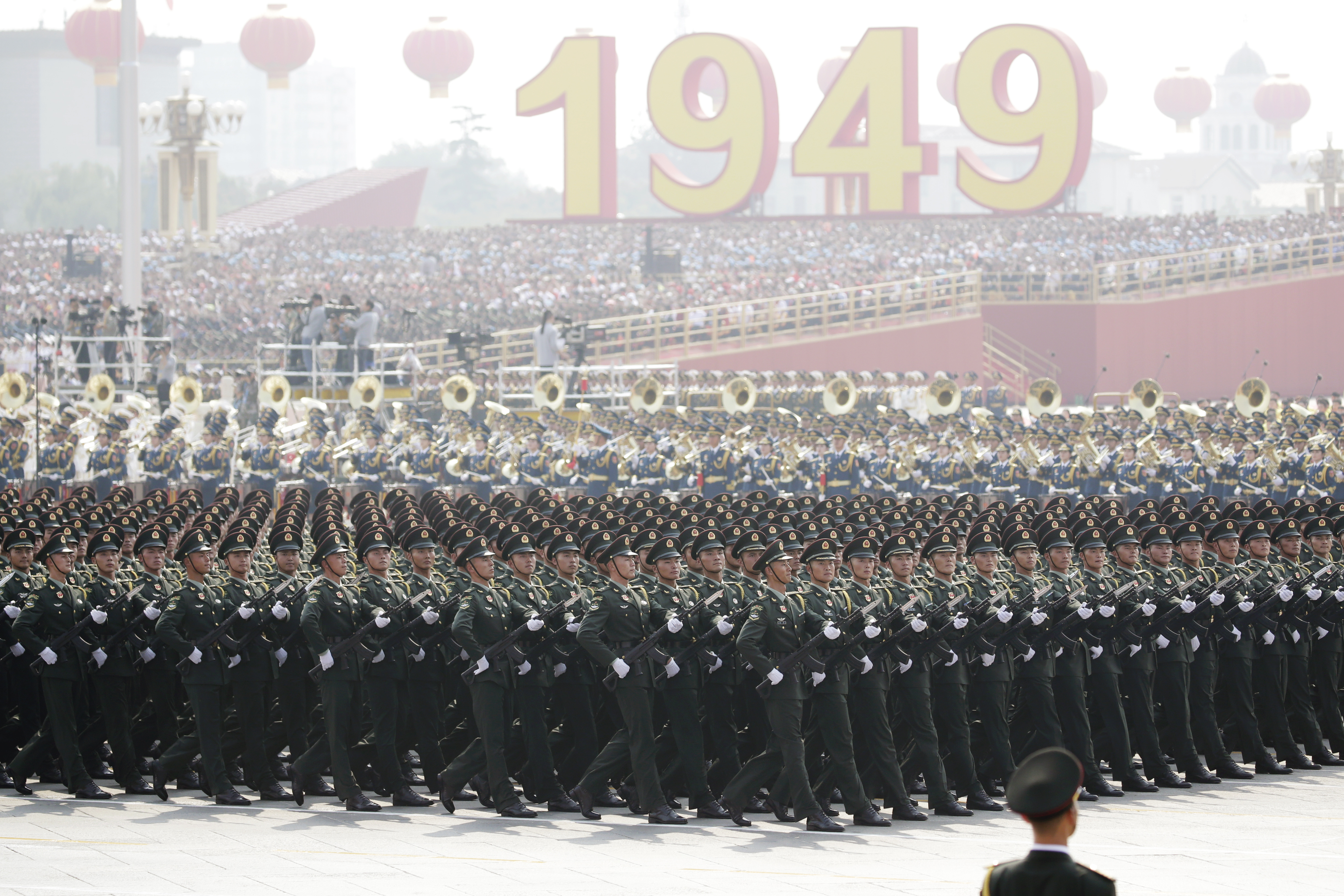 People's Liberation Army soldiers march in the military parade marking the 70th founding anniversary of the People's Republic of China on October 1, 2019.