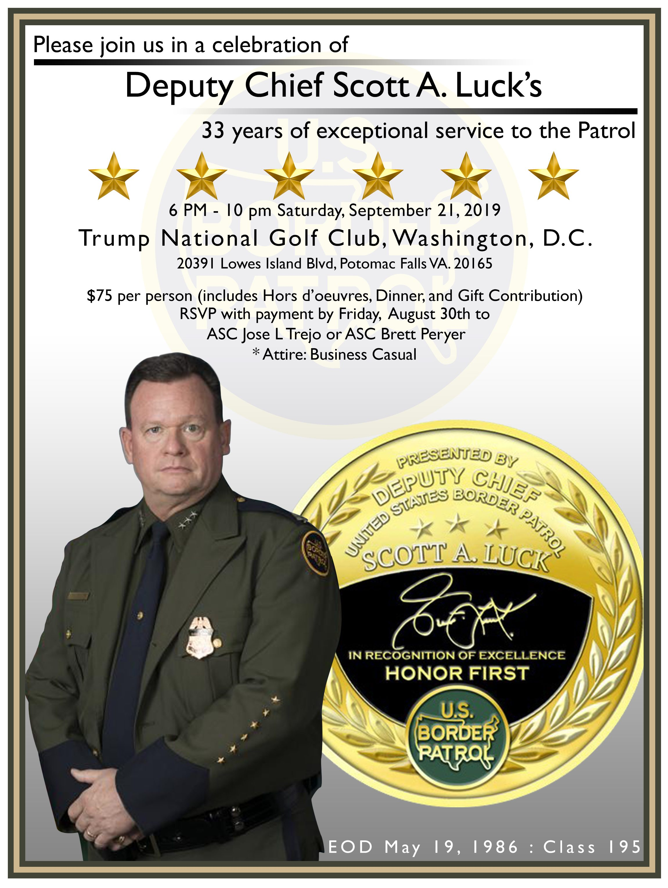 The flyer sent out to Border Patrol employees for deputy chief Scott Luck's retirement dinner