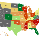 A map of US states color-coded for ethics agencies' transparencies