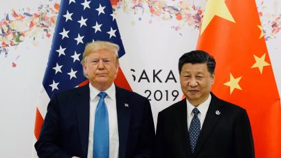 US president Donald Trump standing alongside Chinese president Xi Jinping.