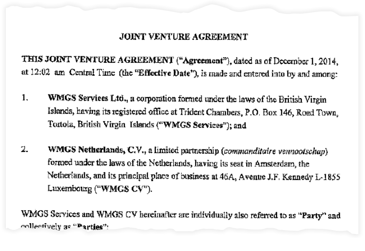 "The opening of the ""fictitious"" ""joint venture"" agreement between two Walmart subsidiaries"