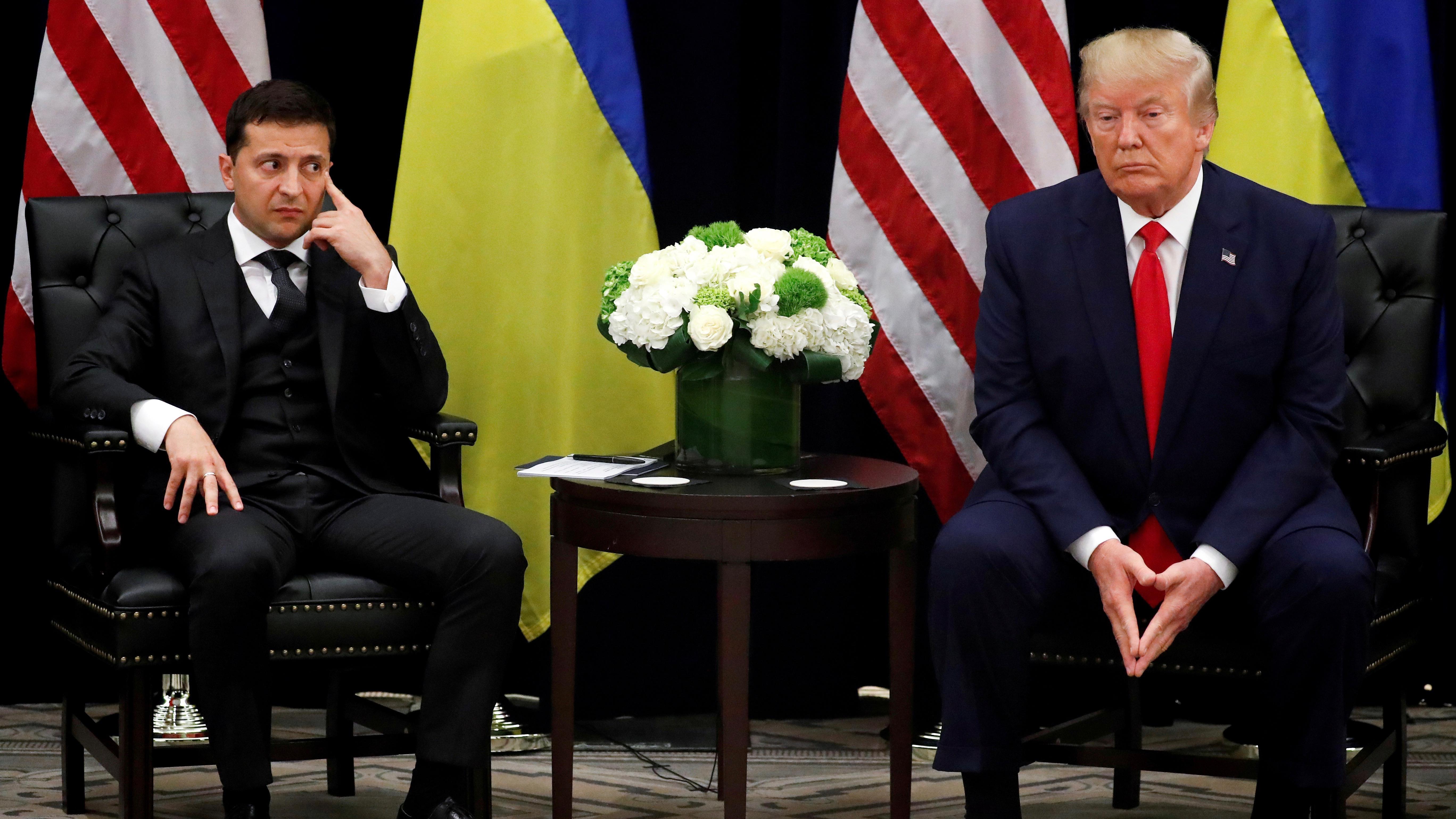 Zelensky and Trump looking glum.