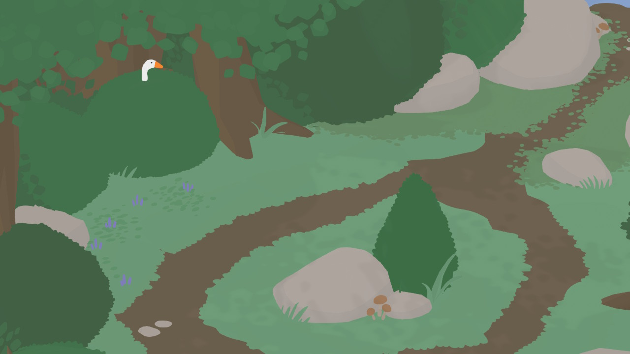 A screenshot from the Untitled Goose Game shows the goose peering out of a bush.
