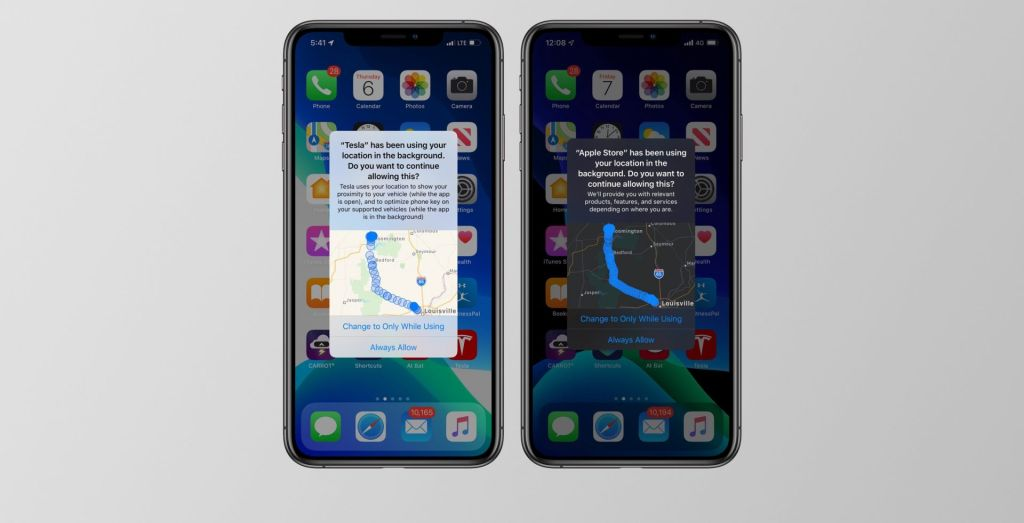 Screenshots of new background location notifications in iOS 13