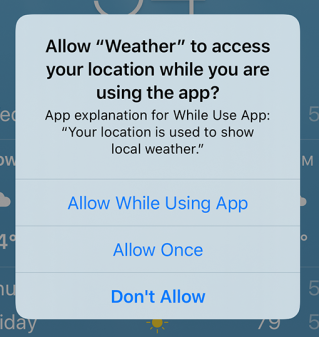 Notification requesting permission to access your location while you are using the app