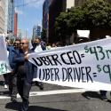 Uber drivers protest their work conditions ahead of Uber's IPO.