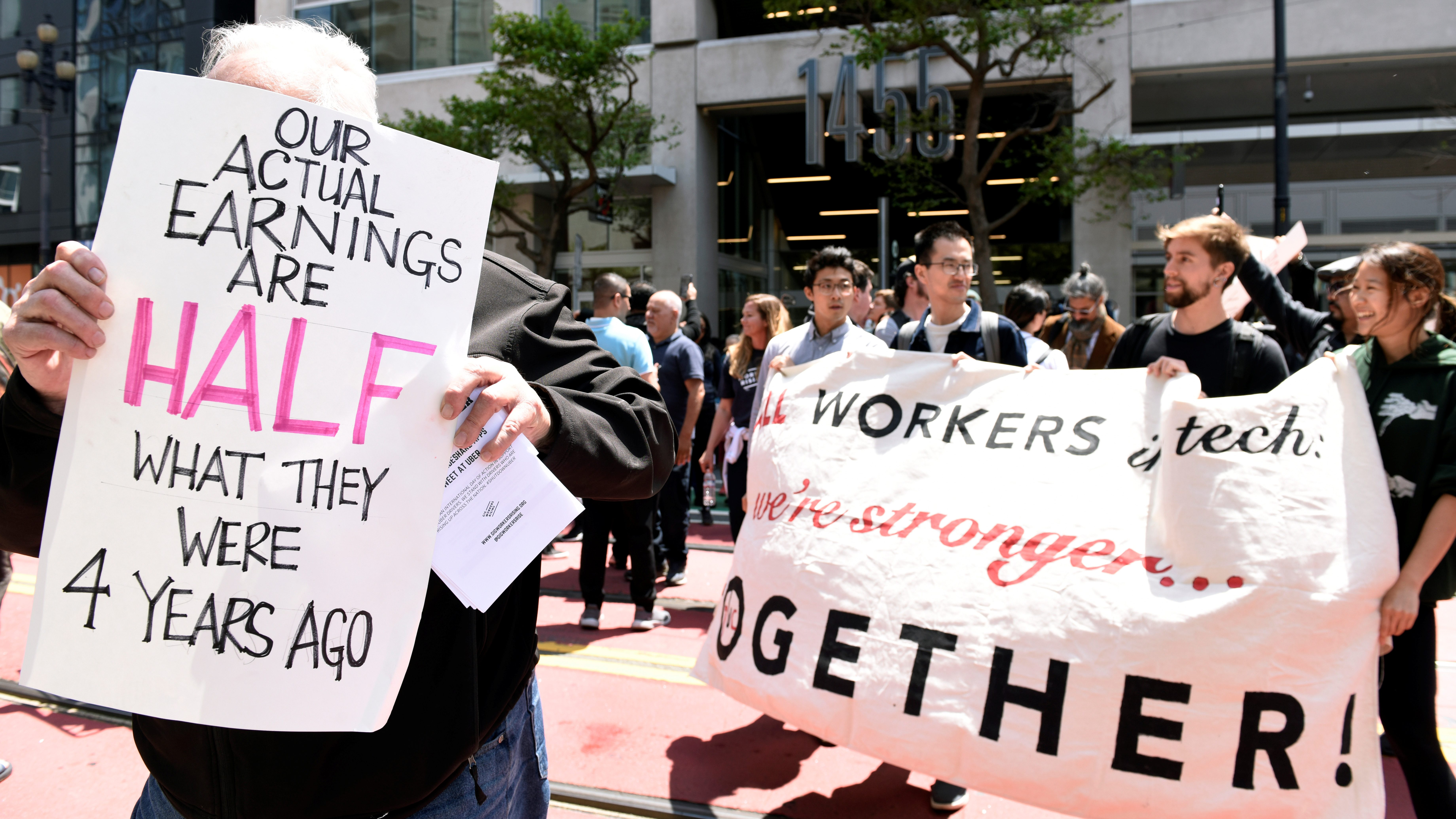 Drivers protest near Uber's headquarters in California
