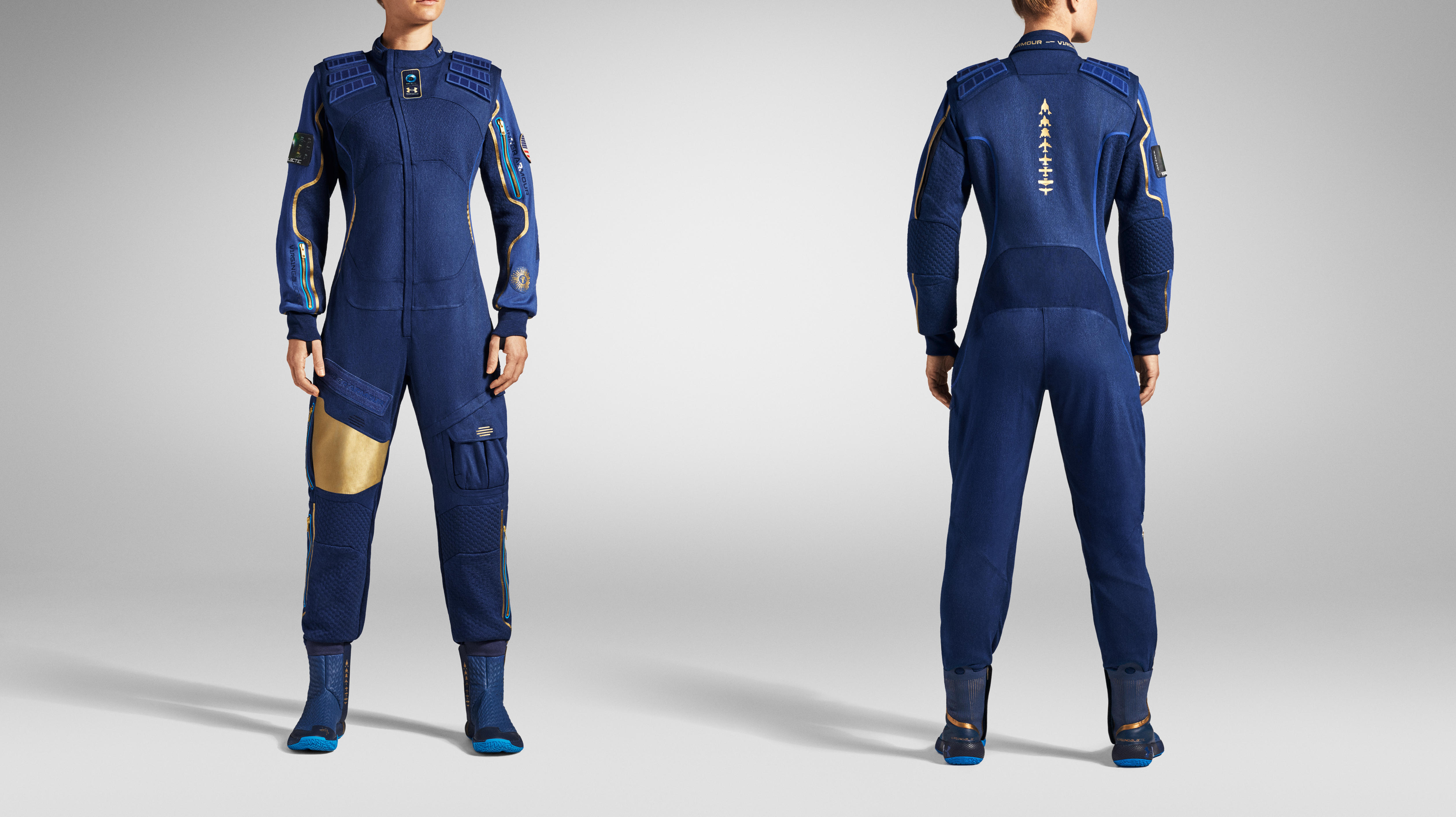 A model wears the Virgin Galactic/Under Armour space suit