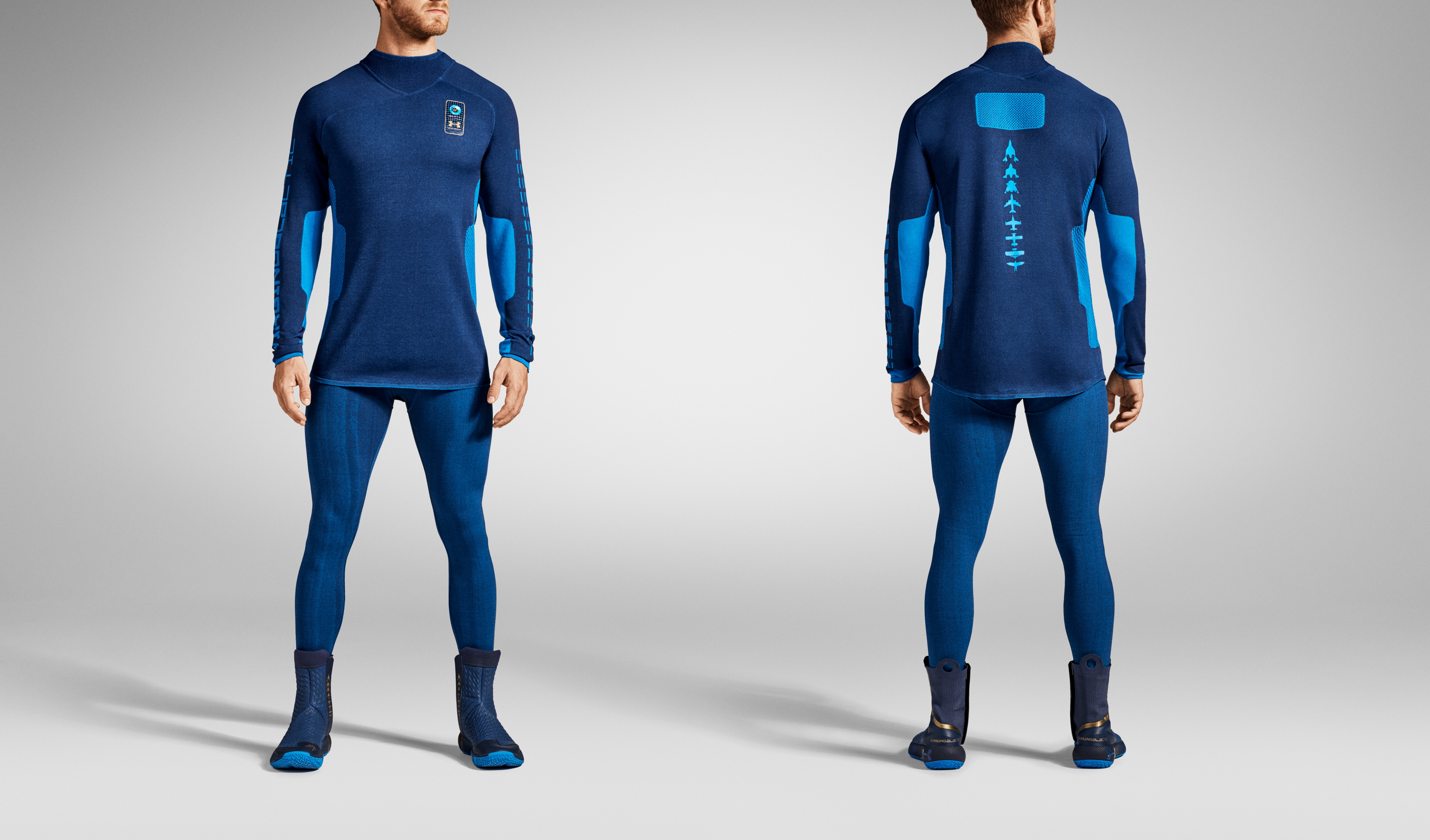 A model wears the base layers of the Under Armour space suit.
