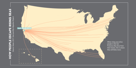 A visualization showing where people will remove to escape rising sea levels
