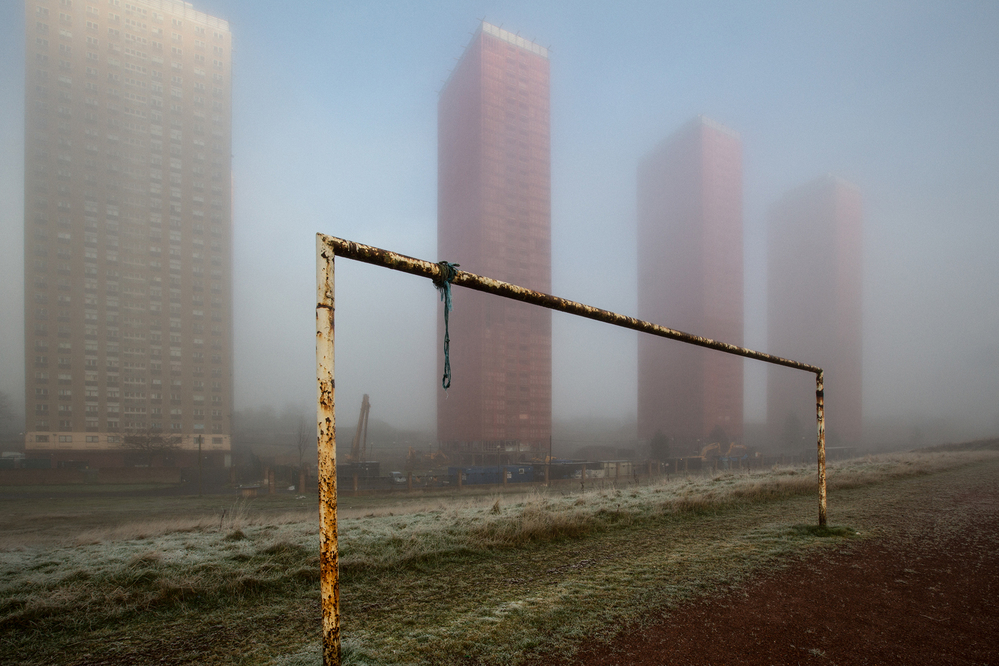 High-rise flats in the mist