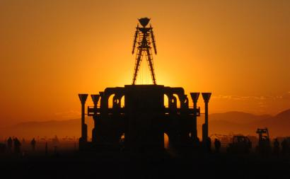 burning man at sunrise