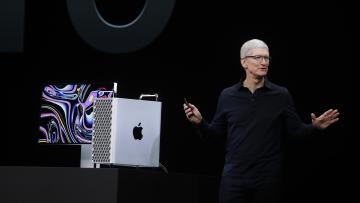 Apple CEO Tim Cook onstage in September