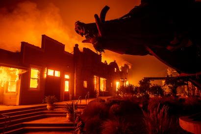 Flames from the Kincade Fire consume Soda Rock Winery on Oct 27 in Healdsburg, California.