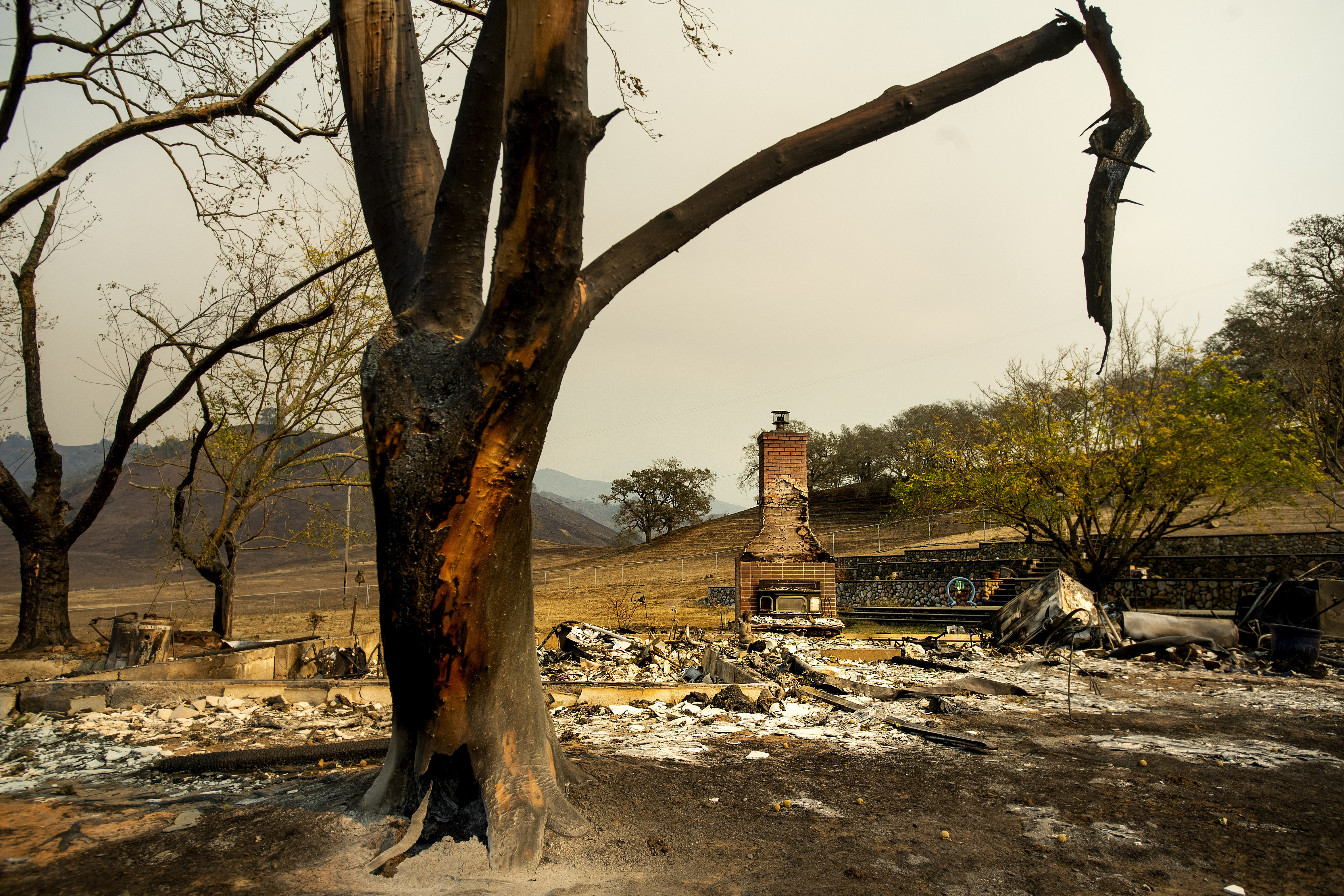 A chimney stands at a home leveled by the Kincade Fire in Calistoga, on Oct. 28.