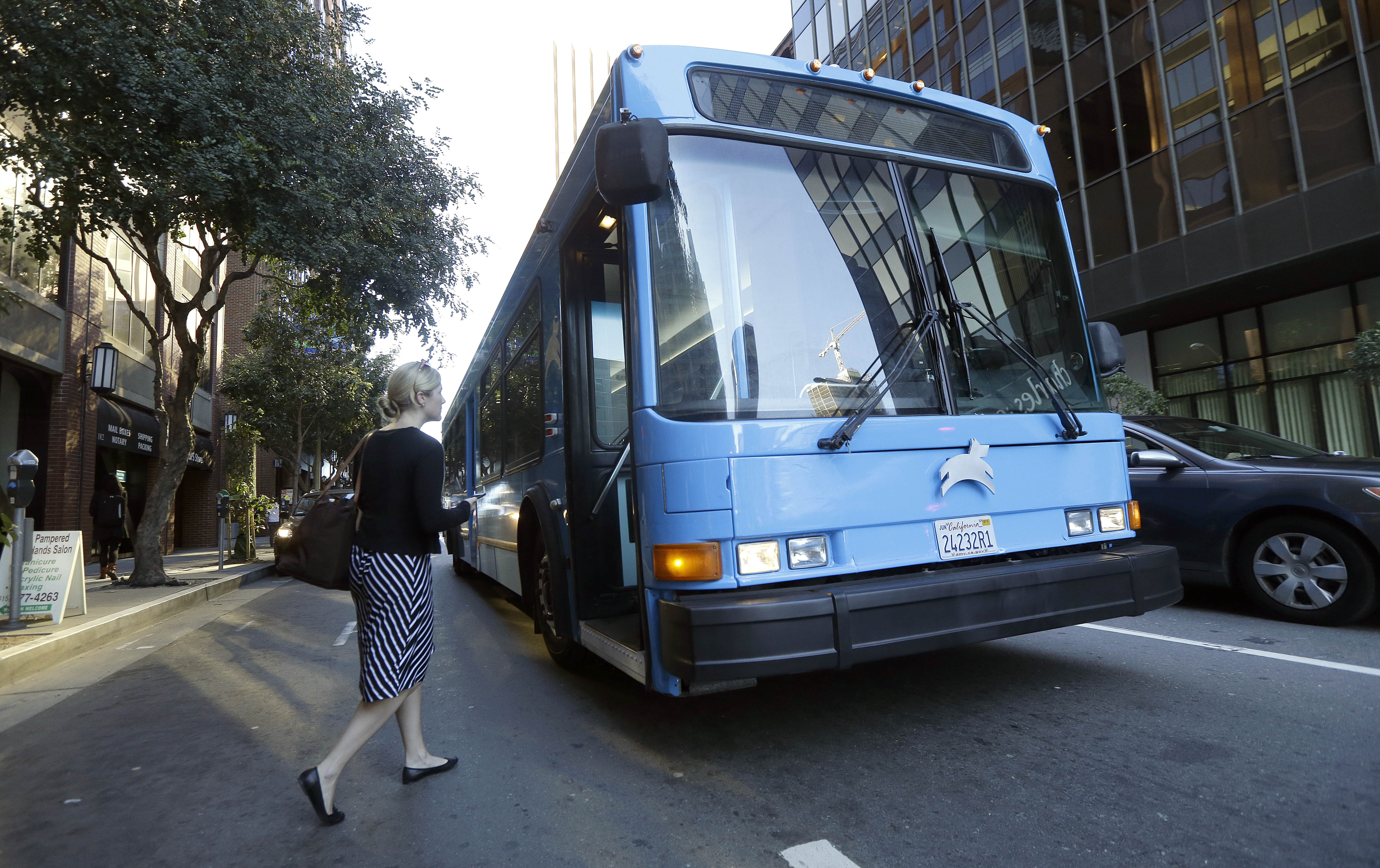 A person getting bus to work