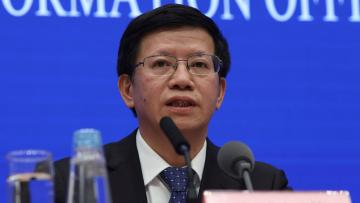 Wu Yanhua, vice chairman of China's national space agency, at a press in January.