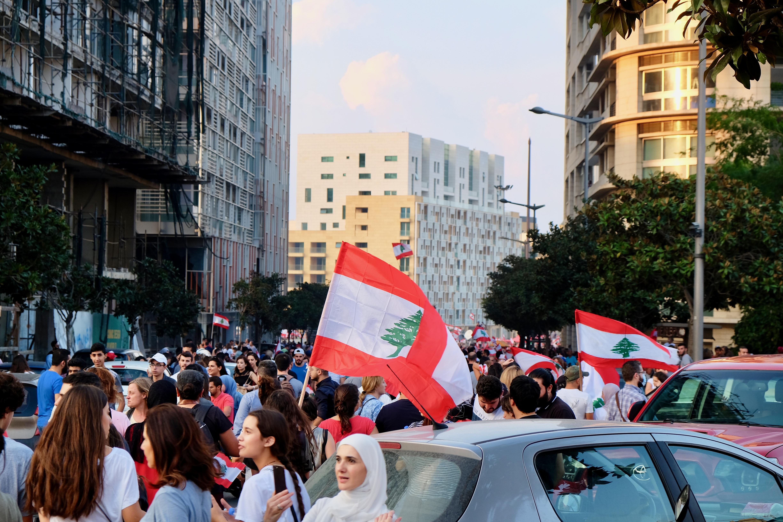 Demonstrators head to downtown Beirut.
