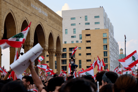 Protesters at Marty's Square in downtown Beirut.