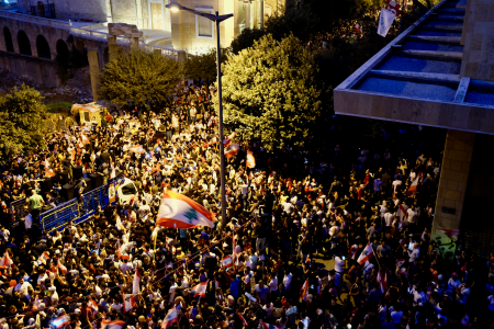 Mass protests are rolling into the evenings in downtown Beirut.