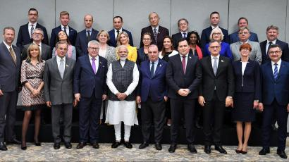 Indian prime minister Narendra Modi poses for a photgraph with a delegation of members of the European Parliament