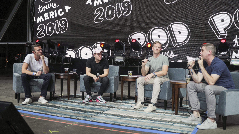 Jon Favreau, Jon Lovett, Tommy Vietor, and Daniel Pfeiffer from Pod Save America speak during the 2019 Life Is Beautiful Festival