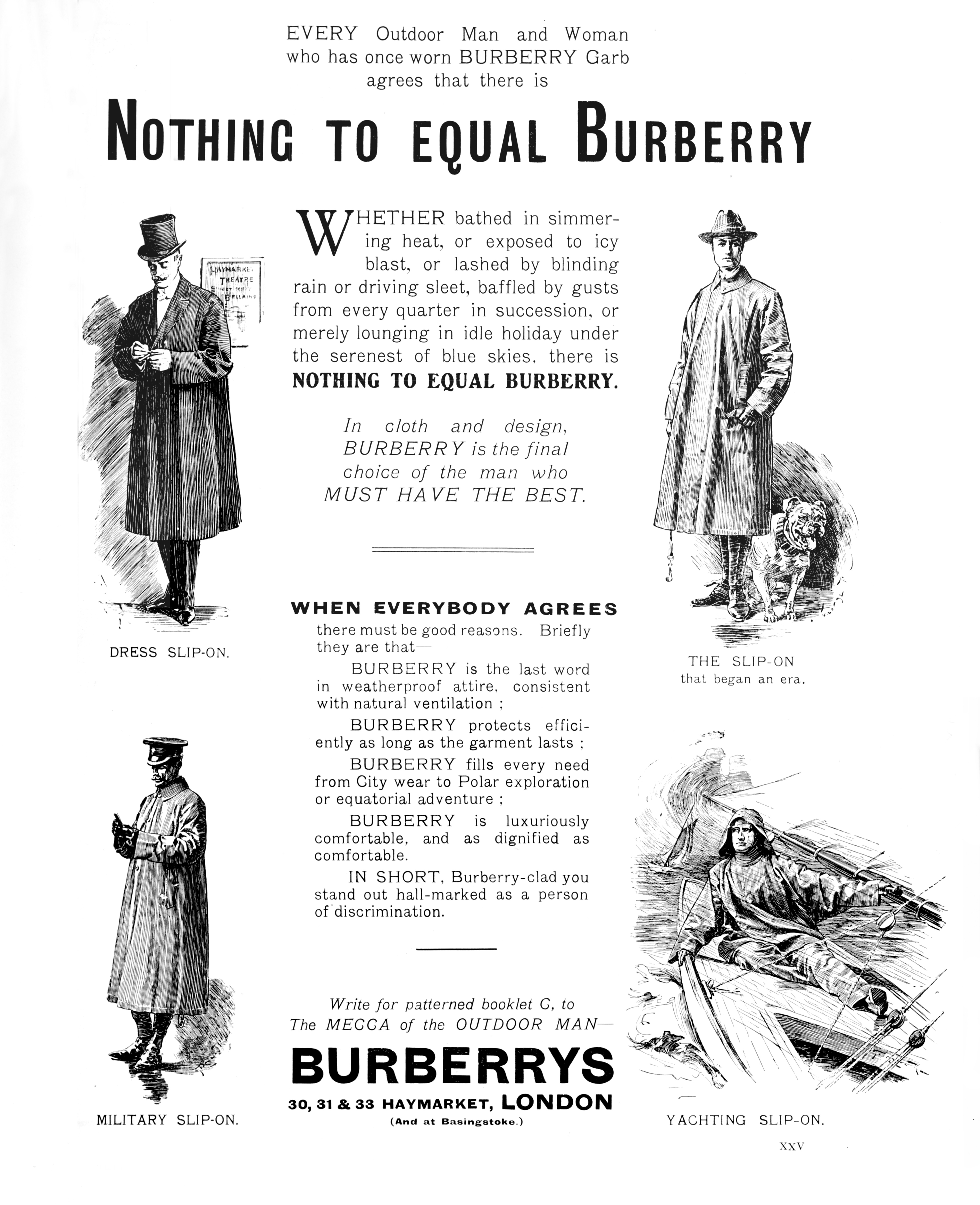 A 1909 ad for Burberry raincoats