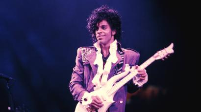 Prince on stage during the Purple Rain tour.