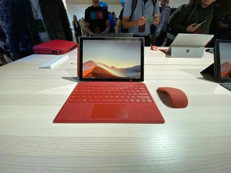 The Surface Pro 7 with the wireless Arc Mouse.