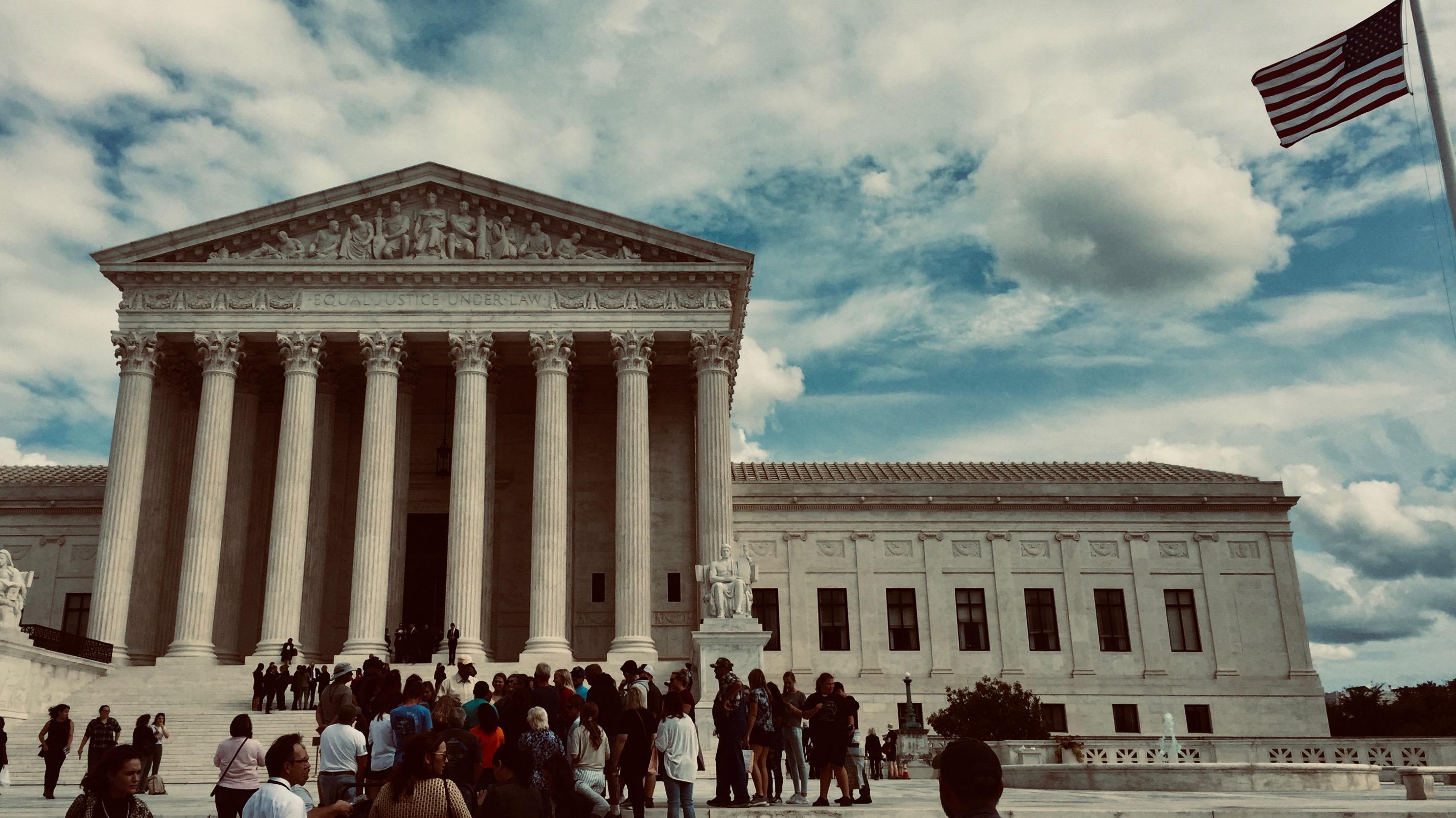 Outside the Supreme Court.