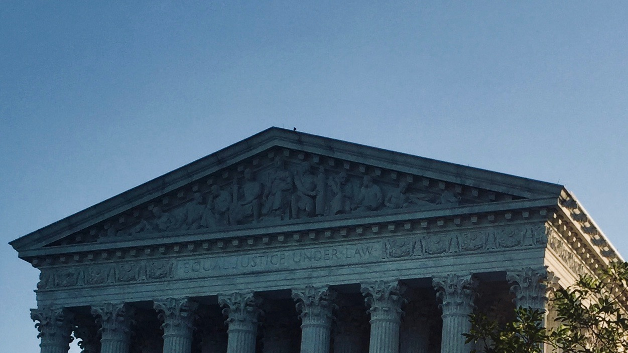 Equal Justice Under Law etched on US Supreme Court Building.