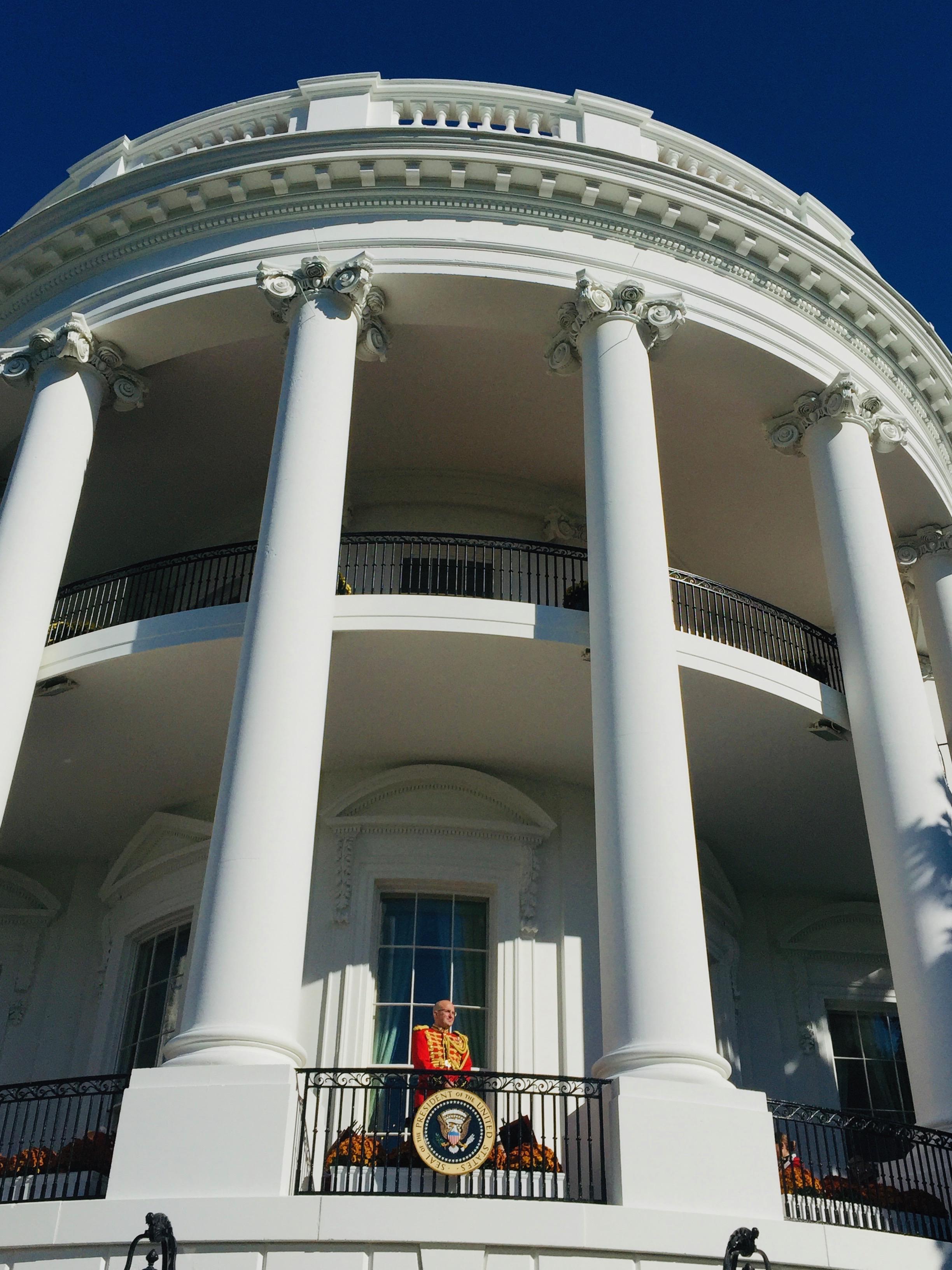Band on White House balcony.
