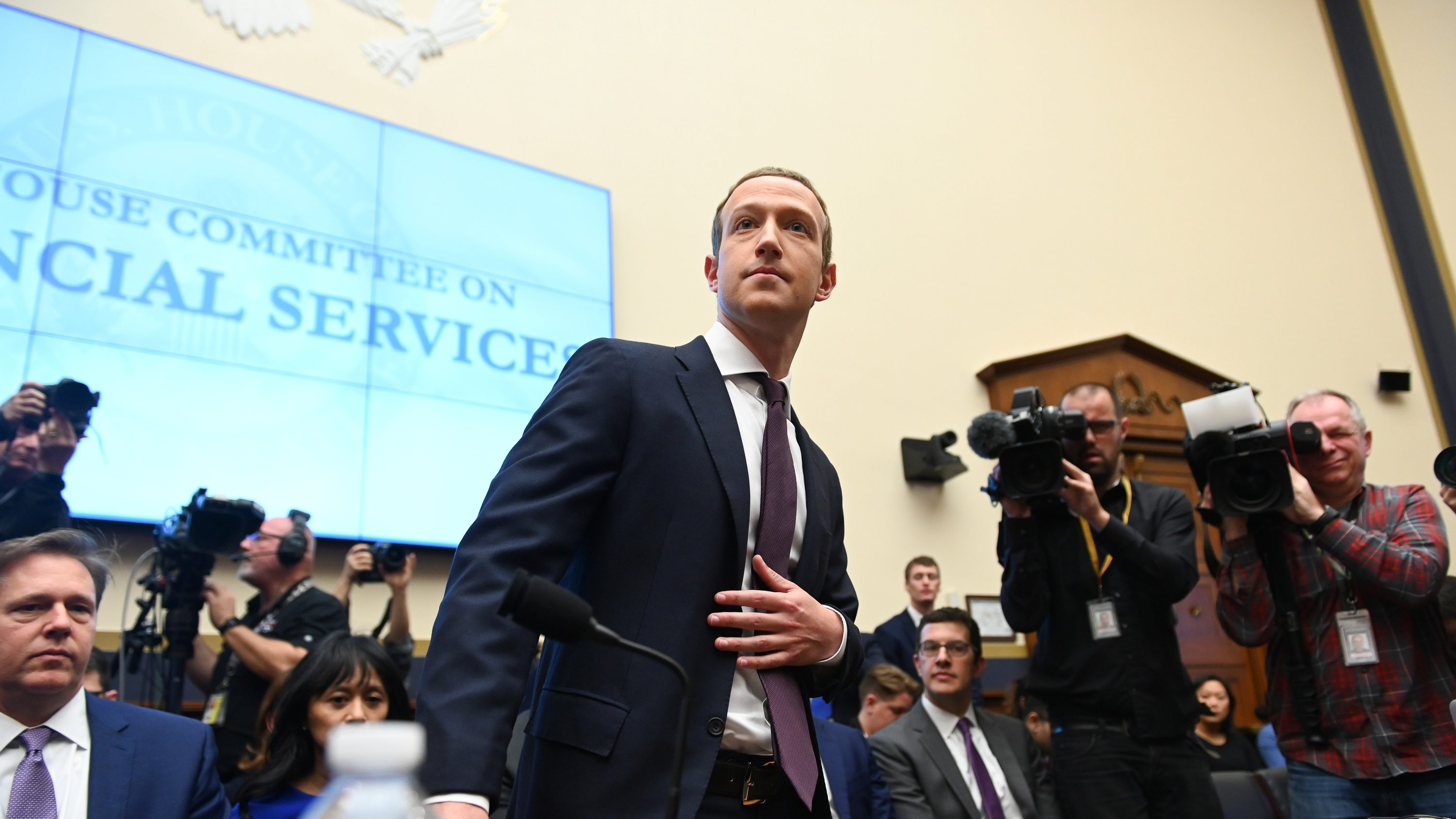 Facebook CEO Mark Zuckerberg testifies at a House Financial Services Committee's Libra hearing.
