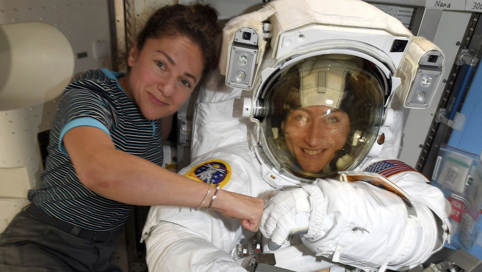 Astronauts Christina Koch and Jessica Meir