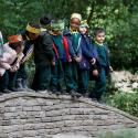 The Duchess of Cambridge plays with children in a London forest school
